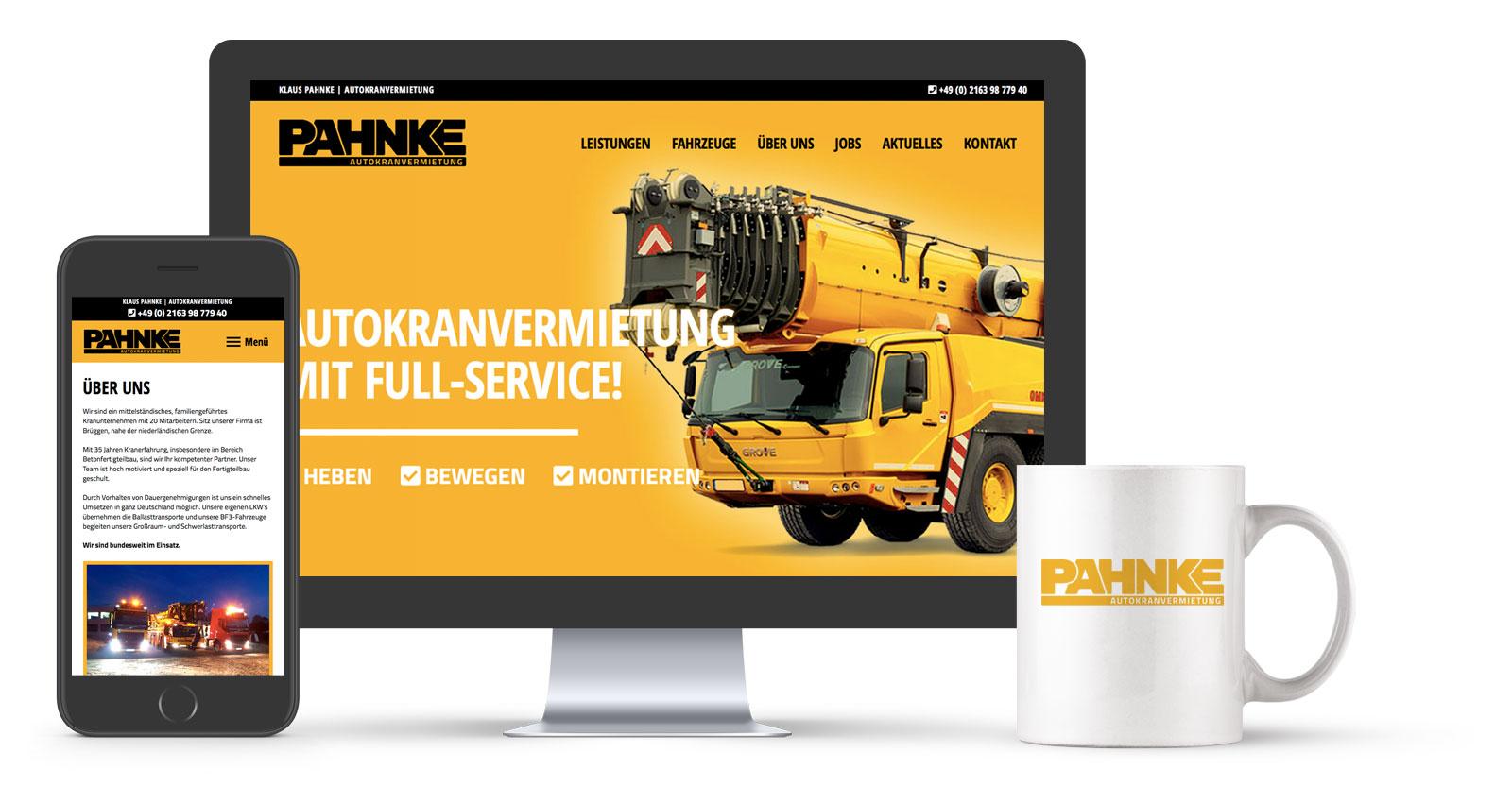 Referenz: Website Design & Corporate Design Entwicklung: Klaus Pahnke Autokranvermietung